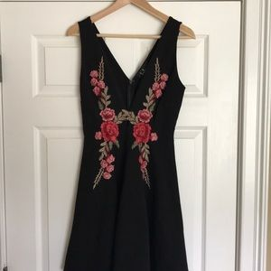 Black embroidered fit & flare
